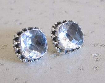 Clear Quatz Boho Earring- Cushion Shape Clear Earring- White Quartz Bohemian Earring- Square White Topaz Earring- Silver Rustic Earring