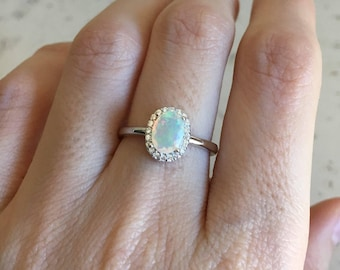Oval Halo Engagement Ring- Genuine Opal Promise Ring- Welo Opal Anniversary Ring- Solitaire Classic Ring- October Birthstone Ring