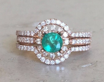 Emerald Floral Engagement Ring Set- Emerald Halo Engagement Rose Gold Ring- Flower Engagement Ring- Genuine Emerald Bridal Set Wedding Ring