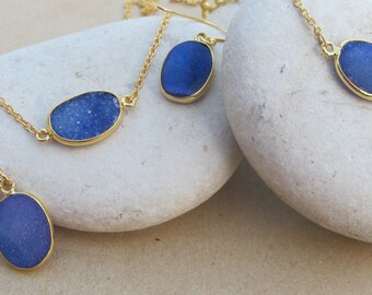 Blue Druzy Jewelry Set- Oval Druzy Earring Bracelet Necklace Set- Simple Blue Stone Druzy Set
