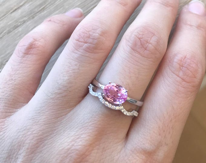 Oval Pink Topaz Ring- Pink Quartz Promise Ring- Stackable Pink Ring- Sterling Silver Ring- Pink Engagement Ring- Simple Classic Prong Ring