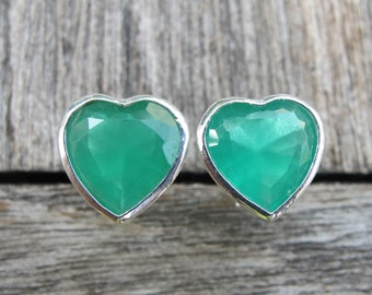Green Heart Shape Earring- Heart Green Silver Stud- Unique Stud Earring- Velntine Gift for Her- Jewelry Gifts for Her- Gift for Wife
