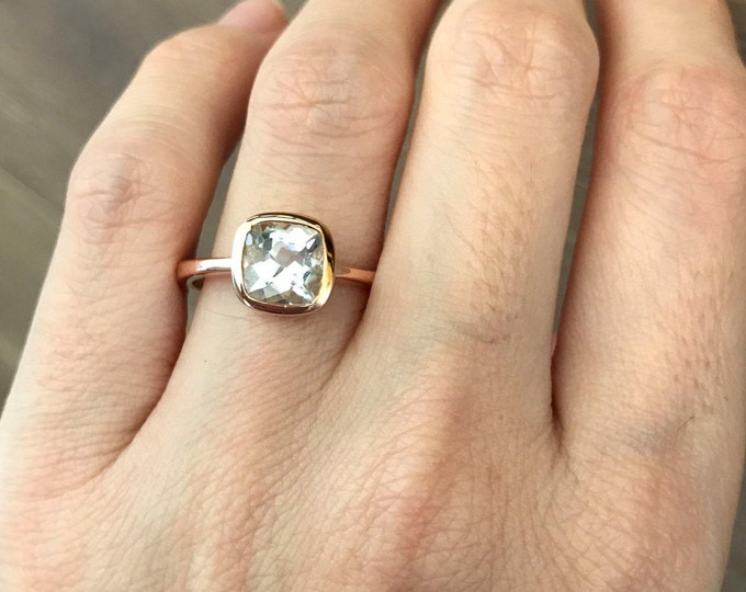 Rose Gold Aquamarine Engagement Ring- Cushion Cut Promise Ring- Blue Gemstone Wedding Ring- Simple Anniversary Ring- March Birthstone Ring