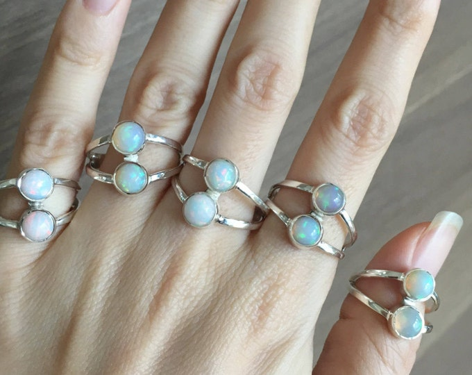Dual Genuine Welo Opal Statement Ring- Ethiopian Round Opal Multistone Ring- October Birthstone Ring- Bohemian Gypsy Ring All Sizes 9 10