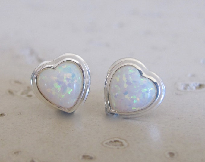 Heart Opal Stud Earring- Heart Shaped Rainbow Earring- Boho Stud Earring- October Birthstone Stud- Jewelry Gifts for Her- Gifts for Wife