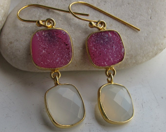 Moonstone Pink Druzy Dangle Earring- Two Stone Mix Long Drop Statement Earring