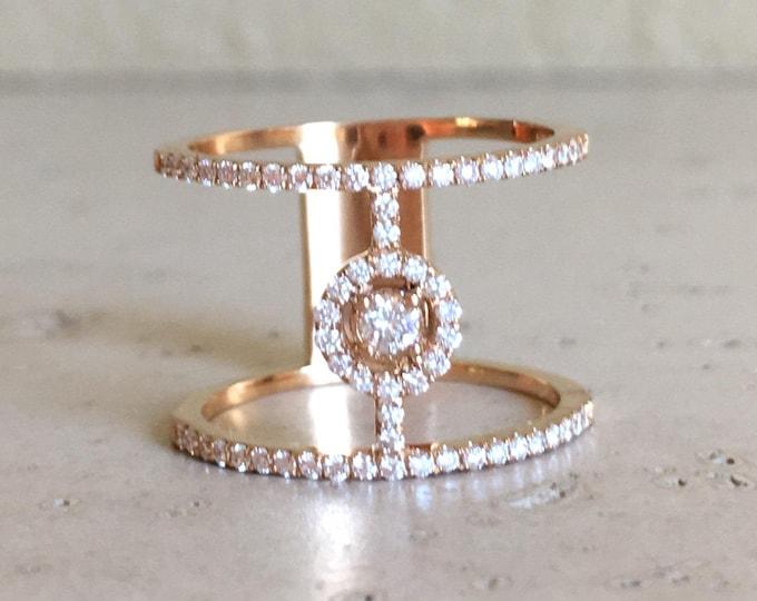 Diamond Bar Ring Rose Gold X Statement Ring Cross Micro Pave Diamond