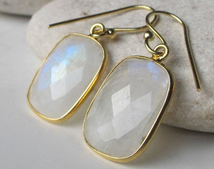 Rectangle Moonstone Dangle Earring- Rainbow Moonstone Gold Earring- Iridescent Bohemain Drop Earring- Boho June Earring- Moonstone Jewelry