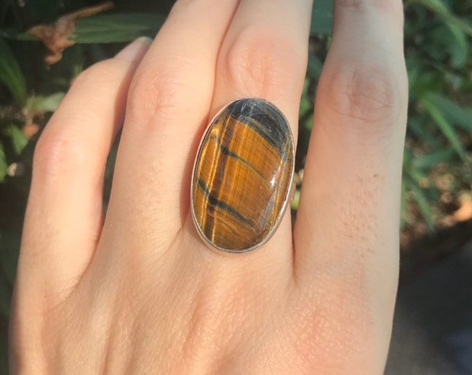 Tiger Eye Statement Elongated Unisex Ring- Oval Genuine Cabochon Tiger Eye Ring- Unique Gemstone Ring- Jewelry Gifts for Her or Him