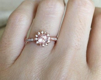 Rose Gold Morganite Ring- Morganite Floral Engagement Ring- Halo Engagement Ring- Pink Gemstone Engagement Ring- Anniversary Flower Ring