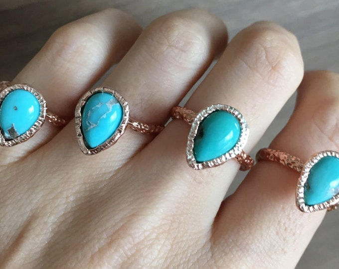 Turquoise Teardrop Rose Gold Ring-Genuine Turquoise Pear Statement Hammered Ring-Natural Blue Turquoise Ring-Rustic Turquoise Solitaire Ring