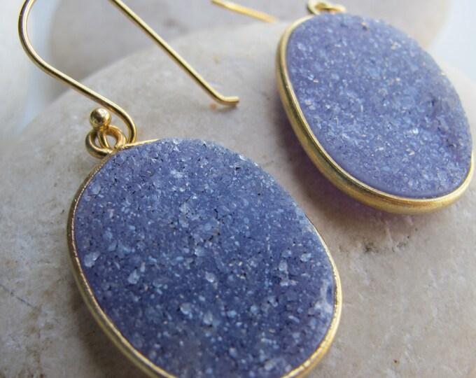 Simple Blue Druzy Boho Earring- Raw Stone Dangle Oval Earring- Sparkly Rough Stone Drop Earring- Raw Crystal Earring