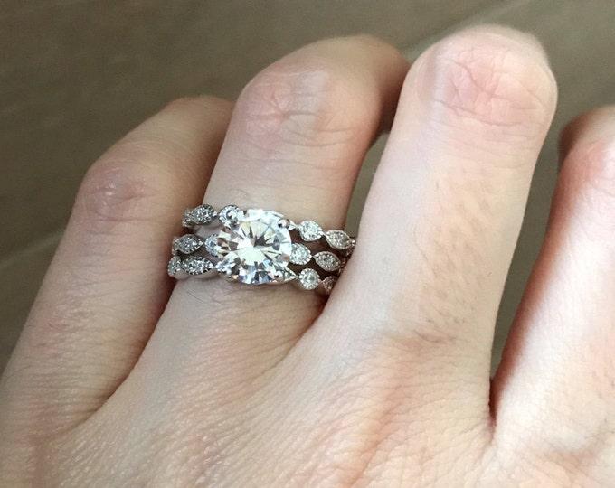 Engagement Ring Set- Bridal Ring Set with 2 Matching Band- Wedding Bridal Ring Set- Round Brilliant Simulated Diamond Ring