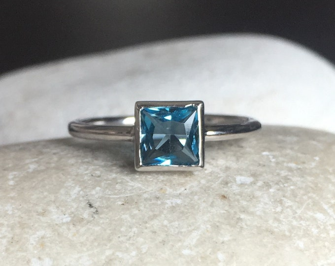 London Blue Topaz Dainty Ring- Dark Blue Square Stack Ring- Small December Birthstone Ring- Midi Pinky Knuckle Ring- Teen Kids Child Ring