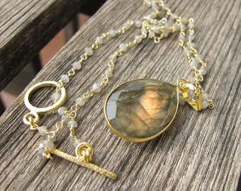 Labradorite Necklace- Gold Labradorite Necklace Pear Shape Handmade Jewelry Beaded Boho Necklace