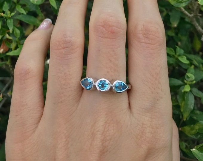 Swiss Blue Topaz Wedding Band- Half Eternity Blue Topaz Stack Ring- Blue Wedding Band Ring- December Birthstone Ring- Blue Topaz Ring