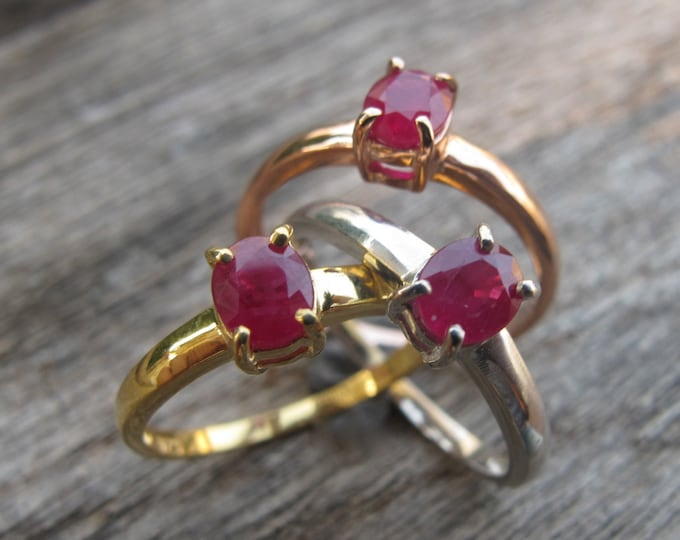 Dainty Ruby Promise Ring- Rose Gold Promise Ring- Small Genuine Ruby Ring- July Birthstone Ring- Oval Ruby Anniversary Ring- Simple Red Ring