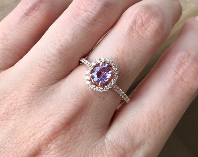 Purple Sapphire Oval Engagement Ring- Rose Gold Sapphire Ring- Genuine Sapphire Promise Ring- Alternative Purple Gemstone Ring