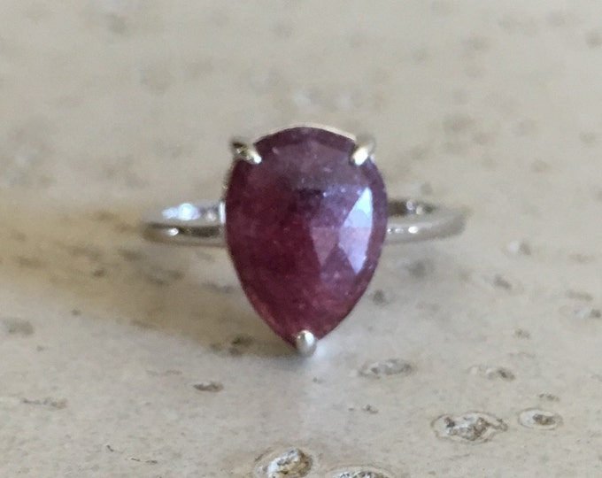 Raw Ruby Promise Ring- Genuine Ruby Pear Ring- Alternative Red Gemstone Ring- Solitaire Simple Prong Ring- July Birthstone Ring