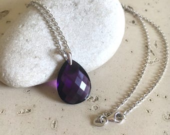 Purple Amethyst Layering Necklace- February Birthstone Necklace- Faceted Pear Shape Necklace- Purple Gemstone Necklace-Jewelry Gifts for Her