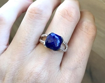 Lapis Lazuli Sterling Silver Ring- December Birthstone Ring- Double Band Rope Ring 925 Boho Blue Gemstone Ring