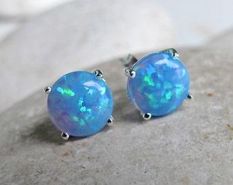 Blue Opal Stud Earring- Bohemian Blue Rainbow Earring- Round Opal Earring- Simple Festive Iridescent Earring- October Birthstone Stud