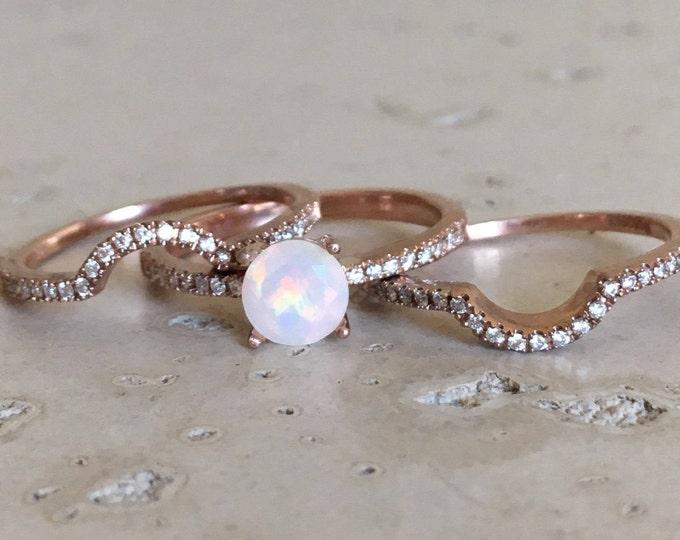 Genuine Opal Engagement Ring Set- Round Opal Ring Rose Gold- Opal Diamond Bridal Ring Set- Opal Ring Set Wedding Ring- 4 Prong Round Opal