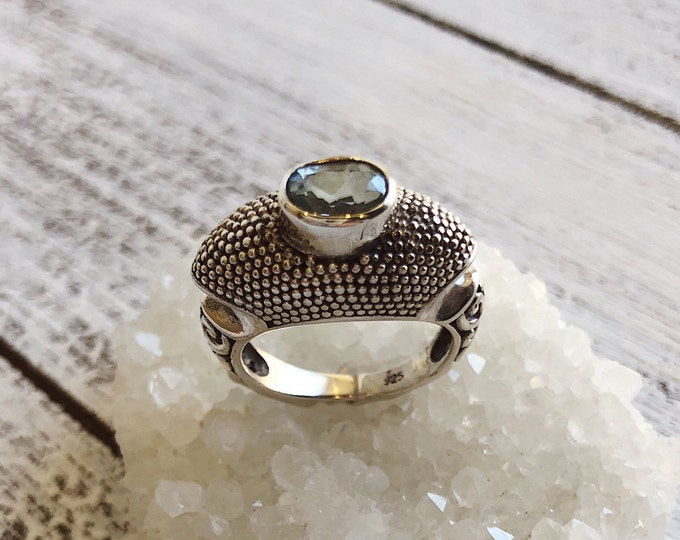 Oval Blue Topaz Ring- Textured Topaz Solitaire Ring- Bohemian Statement Ring- Boho Filigree Sterling Silver Ring- December Birhtstone Ring