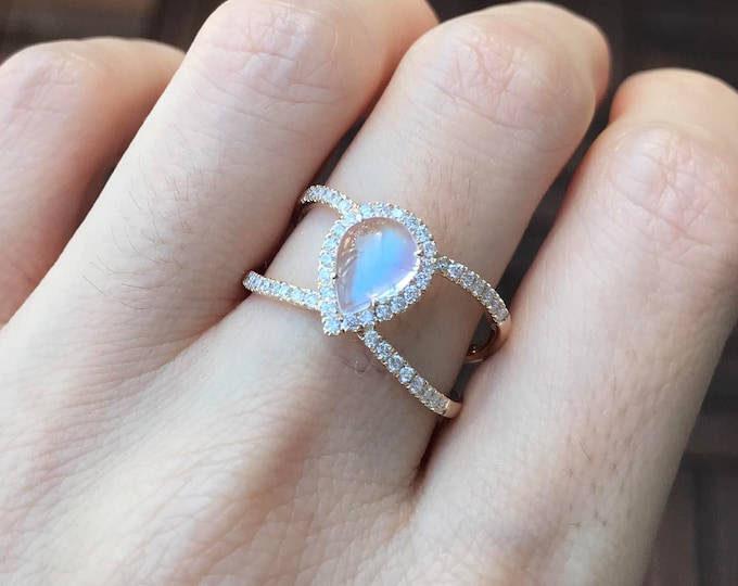 Teardrop Moonstone Engagement Ring- Moonstone Boho with Diamond Statement Ring- Two Band Moonstone Solitaire Ring- Pear Boho Bridal Ring