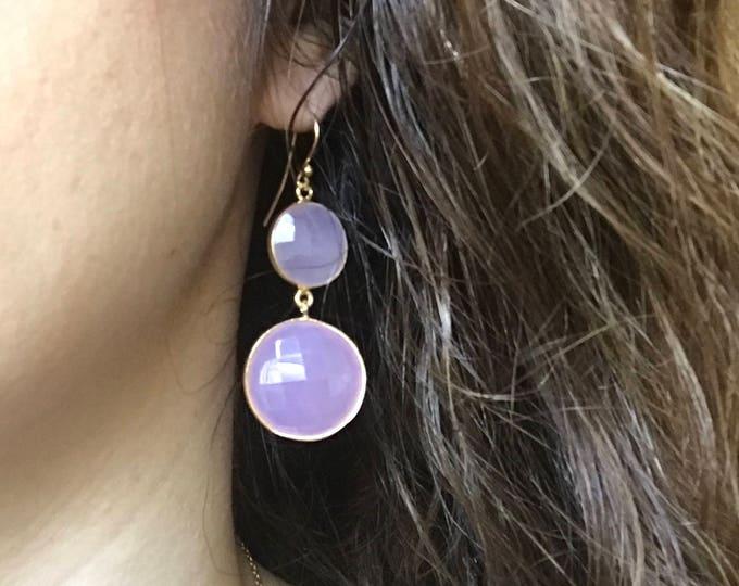 Pink Chalcedony Dangle Earring- Rose Quartz Drop Earring- Pink Double Drop Earring- Long Pink Statement Earring-Sterling Silver Gold Earring