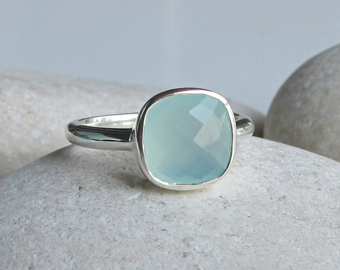 Stackable Blue Chalcedony Ring Size 8- Blue Gemstone Ring- Bezel Facet Blue Ring- Aqua Blue Square Ring- Cushion Seaform Ring Silver Ring