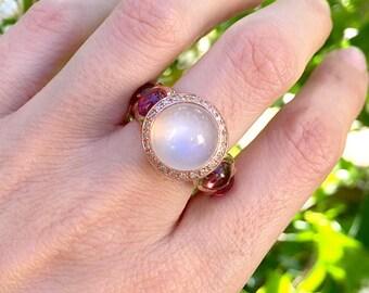 Rose Gold Moonstone Ring- Designer Statement Ring- Unique Alternative Engagement Ring- Pink Tourmaline Ring- Artisan Handmade Ring
