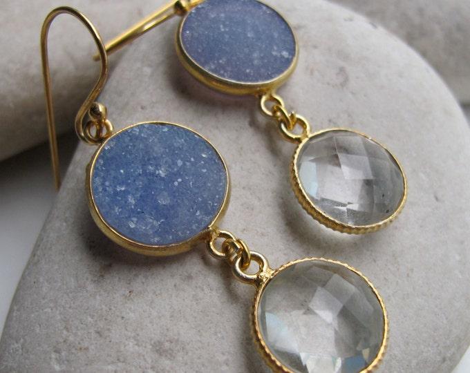Sparkly Druzy White Quartz Mix Gemstone Dangle Earring- Long Statement Gold Earring