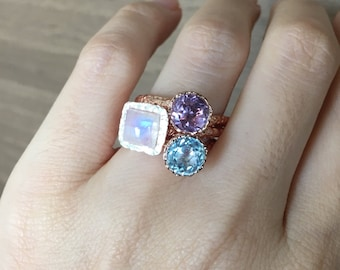 Rose Gold Ring Set- Stackable Birthstone Ring- Stacking Ring Set- Stackable Mothers Ring- Gemstone Stacking Rings- Rose Gold Stacking Ring