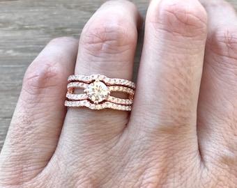 Rose Gold Engagement Ring Set- Colorless Bridal 3 Ring Set- Split Band 3 Piece Ring Set- Clear Round Alternative Woman Engagement Ring Set