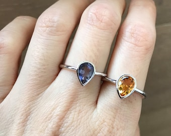 Stackable Pear Shape Ring- Gemstone Stacking Sterling Silver Ring- Birthstone Faceted Bezel Ring- Citrine Iolite Stone Ring