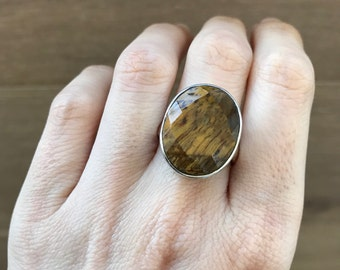 Statement Tiger Eye Ring- Oval Tiger Eye Ring- Large Brown Golden Gemstone Ring- Chunky Stone Ring- Sterling Silver Ring