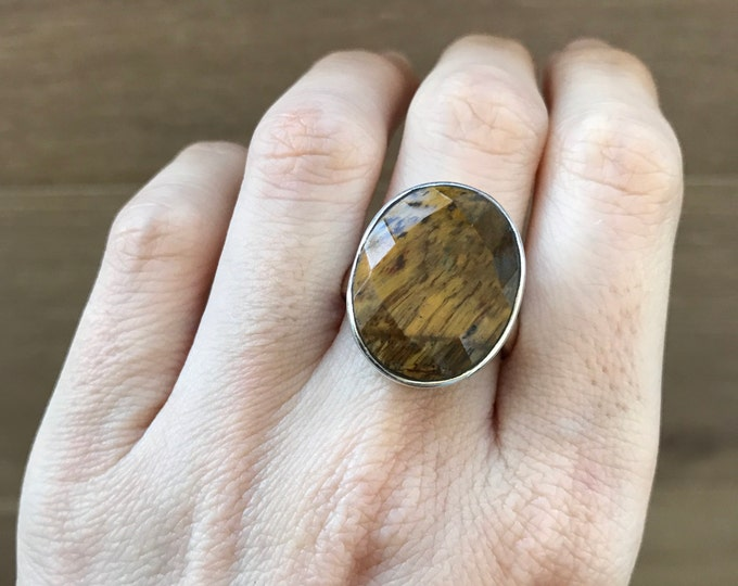 Statement Tiger Eye Ring- Oval Tiger Eye Ring- Large Brown Golden Gemstone Ring- Chunky Stone Ring- Sterling Silver Ring