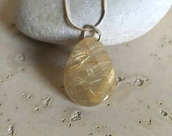 Rutilated Quartz Freeform Sterling Silver Necklace- Gold Rutile Quartz Necklace- One of A Kind Rutile Quartz Necklace