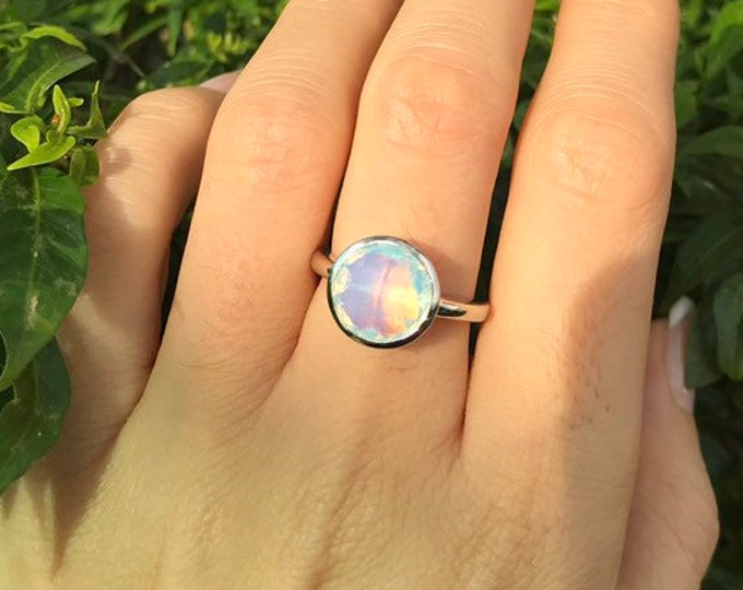 Rainbow Opal Opalite Silver Ring- Mood Round Opal Ring- October Birthstone Ring- Unique Stack Coachella Ring- Bohemian Festive Ring