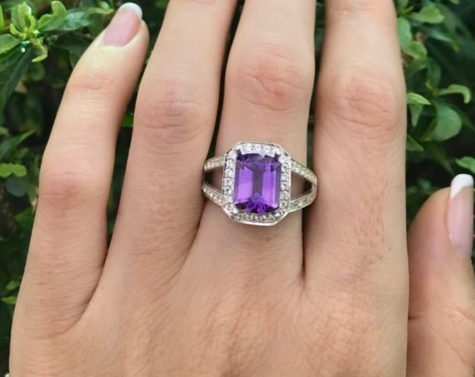 2.44ct Purple Amethyst Rectangle Ring- Large Amethyst Double Band Engagement Halo Ring- Purple Gemstone Ring- February Birthstone Ring
