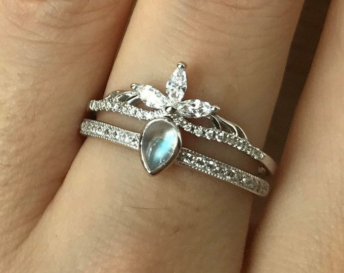 Dainty Moonstone Ring Set for Her- Teardrop Rainbow Moonstone Engagement Ring Set- Wedding Ring Set with Marquise Matching Band