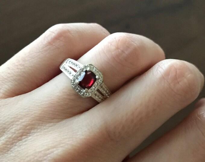 Garnet Ring Rectangle Shape Garnet Engagement Ring Red Gemstone Bridal Dainty Genuine Garnet Anniversary Emerald Cut Ring