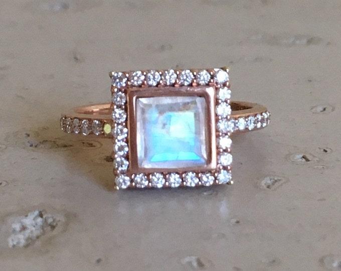 Princess Moonstone Engagement Ring- Square Moonstone Rose Gold Ring- Halo Diamond Moonstone Ring- Rainbow Moonstone Alternative Ring