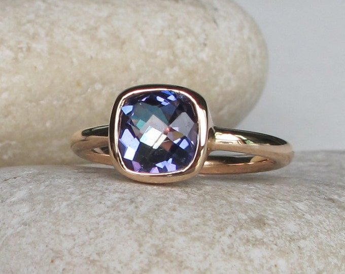 Mystic Topaz Square Ring- Silver Blue Mystic Topaz Ring- Rainbow Square Ring- Gifts for her- Stack Ring- Stack Gemstone Ring- Square Ring