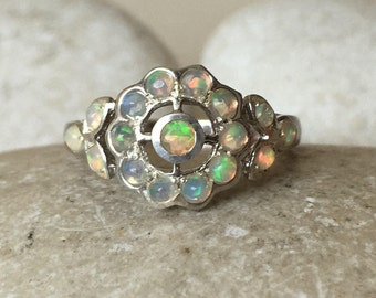 Opal Engagement Ring Opal Ring Floral Engagement Ring Genuine Natural Nature Inspired Ring