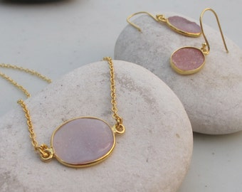 Light Pink Druzy Earring Necklace Set- Oval Pink Gemstone Jewlery Set- Druzy Jewelry Set- Pink Stone Earring and Necklace