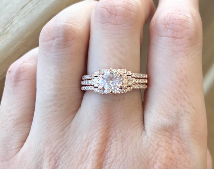 Rose Gold Sapphire Ring Set- Genuine White Sapphire Engagement Ring Set- Alternative Bridal Set Ring- Deco 1 Carat Three Piece Ring Set