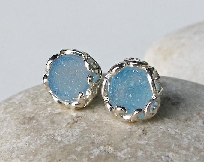 Druzy Stud Earring Round Druzy Silver Earring Raw Crystal Stud Earring- Boho Sterling Silver Rough Gemstone Earring- Something Blue Earring