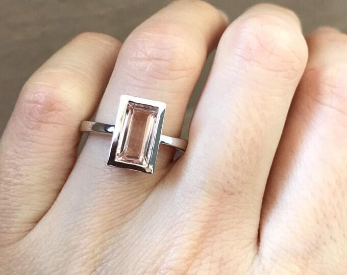 Rectangle Morganite Engagement Ring- Simple Morganite Promise Ring-Pink Gemstone Engagement Ring-Minimalist Modern Vertical Anniversary Ring